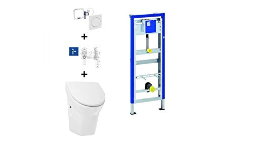 Geberit Duofix Basic Urinal Element + Urinal + Drückerplatte Samba Komplett-Set Mit Deckel