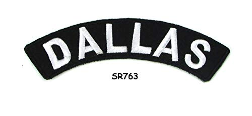 Dallas White on Black with Border Iron On Sew On Small Rocker State Patch for Jacket Vest