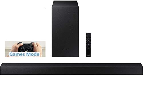 Samsung HW-T450/XU Barra de sonido inalámbrica 2.1 canales 200 W-RMS, Dolby Digital, modo inteligente, subwoofer inalámbrico activo, modo de juegos con soportes de pared, negro