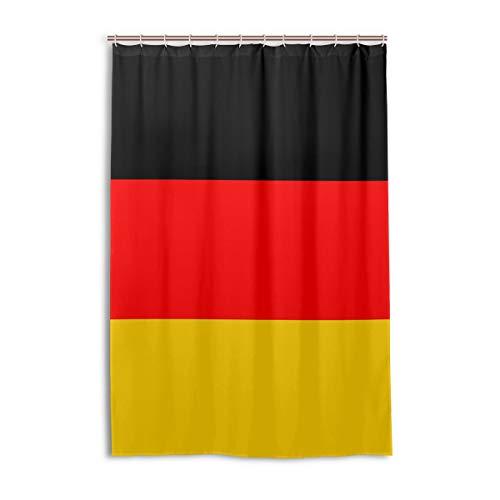 FANTAZIO Duschvorhang Flagge Deutschlands Polyester Badvorhang mit dicken C-förmigen Haken für Badezimmer Wasserdicht 1 Stück 121,9 x 182,9 cm