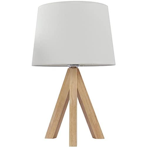 Lámpara de trípode de madera, lámpara de lino rústico, adecuado para dormitorio de tocador sala de estar universitaria dormitorio hotel White-22 * 21 * 46cm