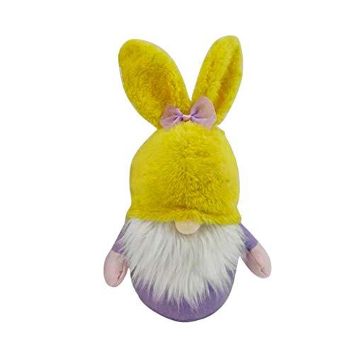 PTMD Decoración de conejo de Pascua de Pascua, de felpa, decoración de fiesta familiar, juguetes para niños, fiesta de Pascua, orejas de conejo, sin rostro, muñeco enano