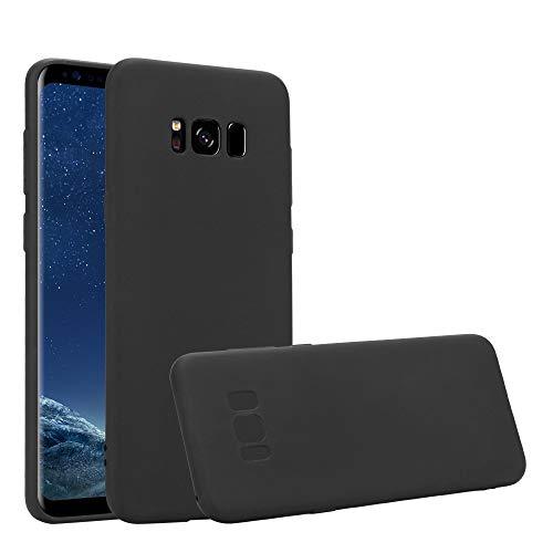 HSP Matt Schwarze Hülle kompatibel mit Samsung Galaxy S8+ | Premium TPU Silikon Case | Kratzfest Stoßfest | Geeignet für Induktives Laden | Matte Oberfläche | Passgenaue, weiche, dünne Schutzhülle