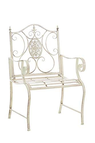 CLP Lackierter Eisen-Gartenstuhl Punjab mit Armlehne I Outdoor-Stuhl im Landhausstil I erhältlich, Farbe:antik-Creme
