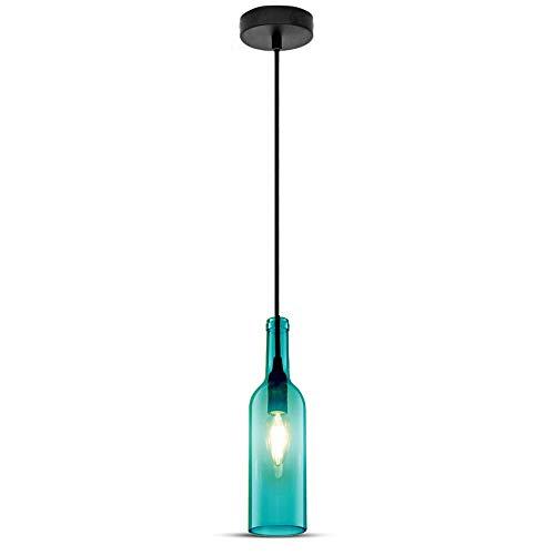 V-TAC SKU.3768 Lámpara Colgante forma Botella, 60W, Azul, Ø72 mm, 280 x 1150 mm