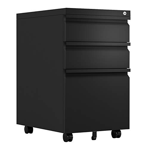 GREATMEET 3 Drawer Mobile File Cabinet with Lock,Metal Filing Cabinet for Legal, Letter Size,Fully Assembled for Home Office Black