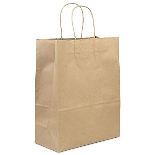[50 Pack] Heavy Duty Kraft Paper Bags with Handles 13 x 10 x 5' 12 LB Twisted Rope Retail Shopping Gift Durable Natural Brown Barrel Sack