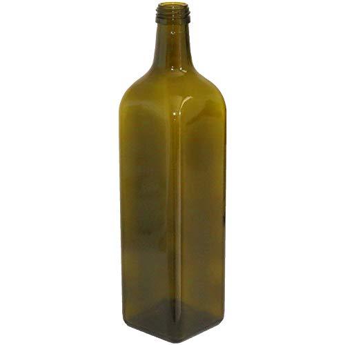 acquaverde 24pezzi Bottiglia Vetro Scuro UVAG marasca Olio liquore Quadra 1000 ml con Tappo