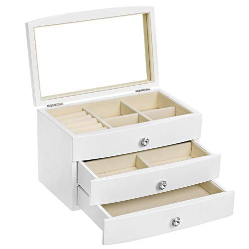 SONGMICS Jewelry Box, Wooden Jewelry Case, 3 Layer Organizer with Large Mirror, White UJOW03W