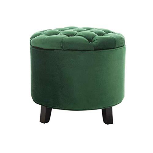 QQXX zitzak, rond, knopen van velours, gestoffeerd, voor het huishouden, massief hout, met houten poten (kleur: # 4) QENG1305r-2 Qeng1305r-2