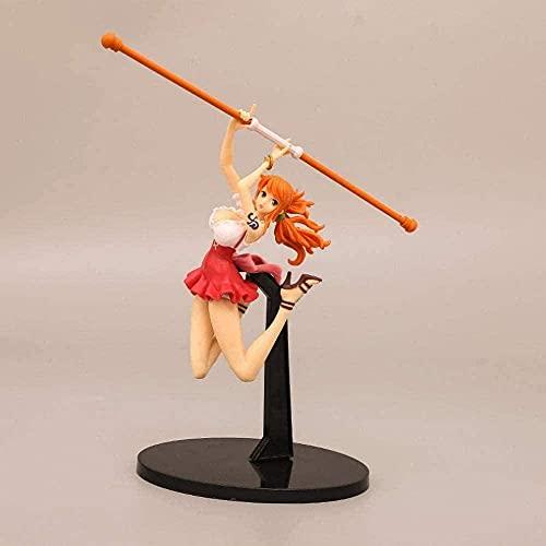 LHLBD Chunqing The Time One Piece Nami Stick Ray Beautiful Fight Girl Escena de animación Modelo de Personaje Estatua Anime Decoración Juguete-23 2cm
