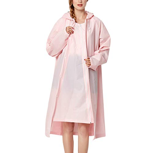 IZHH Mode Damen Regenjacke, Kapuze Transparente Eva Mantel Feste Taschen Winddicht Freien Outwear wasserdichte Splice Windjacke Regen Zubehör für Camping und Reisen(Rosa,X-Large)
