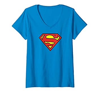 Womens Superman Logo V-Neck T-Shirt