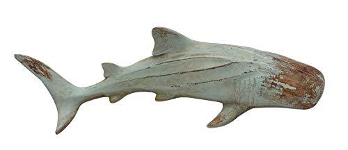 MichaelNoll Hai Haifisch Fisch Dekofigur Skulptur Statue Polyresin Modern - Maritime Deko in Holz-Optik - 33,5x13x7,5 cm
