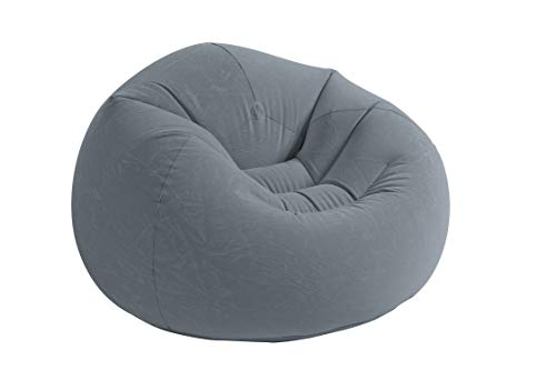 Intex Beanless Bag Chair Aufblasmöbel - Sitzsack - 1.14 m x 1.14 m x 71 cm, Grau