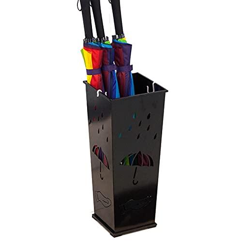 Paragüero Metal Estante De Paraguas Soporte De Suelo Soporte para Bastones, con Pequeños Ganchos Y Almohadilla Antideslizante para Los Pies, Entrada Vestíbulo Interior Exterior (Color : Black)