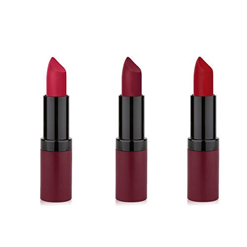 GR Cosmetics Velvet Matte Lipstick 3 Piece Red Set, Enriched With Vitamin E