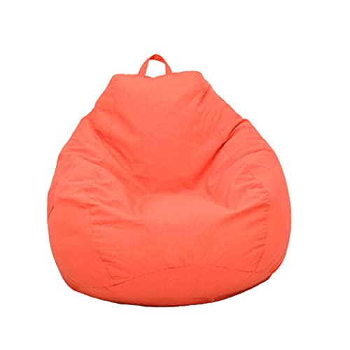 Soft Bean Bags Chairs For Kids, Teens, Adults - Fine Linenfabric Bag Chair - Dorm Room Comfy For Reading Game Meditating,Orange,60 * 70cm