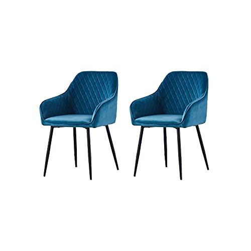 2X Wohnzimmerstuhl Esszimmerstuhl aus Stoff (Samt) Farbauswahl Retro Design Armlehnstuhl Stuhl mit Rückenlehne Sessel Metallbeine Schwarz (Teal, 2)