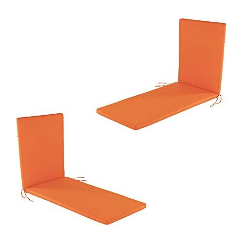 Lot de 2 Coussins Standard pour Chaise Longue de Jardin Couleur Orange | Dimensions: 60x196x5 cm | Imperméable | Déhoussable | Livraison Gratuite