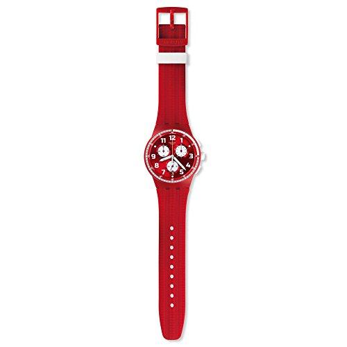 Swatch Unisex Chronograph Quarz Uhr mit Silikon Armband SUSR403