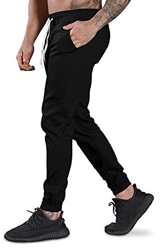 N\\C Herren Jogginghose Baumwolle Freizeithose Sport Slim Fit Trainingshose Sweatpants Jogger Hosen Pants (Schwarz, M)
