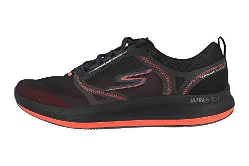 Skechers Go Run Pulse, Zapatillas para Hombre, Negro Negro Negro Textil Sintético Borde Naranja Bkor, 41 EU