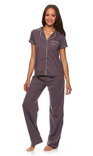 bebe Womens Button Down Shirt and Pajama Pants Lounge Sleep Set Midnight Lavender Large