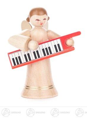 Engel met toetsenbord, lange rok, natuurhoogte van ca. 6 cm Erzgebirge kerstfiguur houten figuur