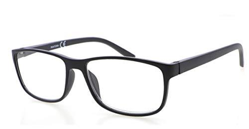 Gafas de lectura PANTONA con cristales antireflejantes y filtro anti luz azul para ordenadores, tacto de goma, vista Cansada. Presbicia. elegantes unisex. (negro, 2.00)