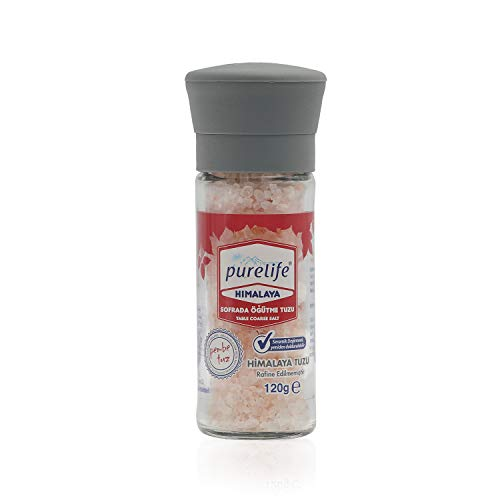 Purelife Himalayan Kosher Salt Pink Coarse Unrefined - Gourmet Natural Crystal Rock Salt with Minerals in Glass Bottle with Ceramic Mill – From Iron Rich Part of Himalayan Salt Mine- 4.23oz
