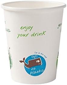 BIOZOYG Vaso orgánica descartable para Bebidas Calientes I Vaso heco de cartón Biodegradable, compostable I Vaso de café reciclable Blanca con Comic Print 50 Piezas 200 ml 8 oz