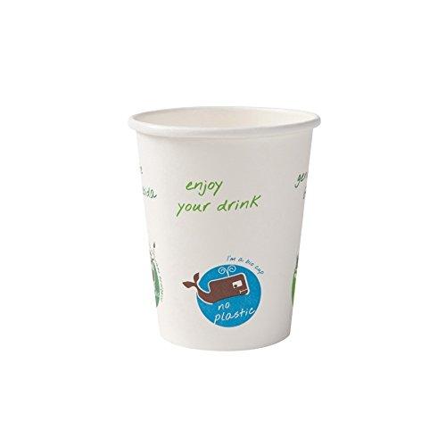 BIOZOYG Bio Einwegbecher für Heißgetränke I Einmalgeschirr Partyzubehör Pappbecher biologisch abbaubar, kompostierbar I Recycling Kaffeebecher weiß mit Comicdruck 50 Stück 200ml 8 oz