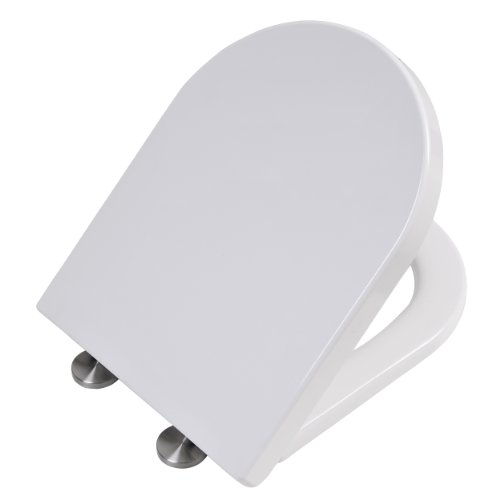Toilettendeckel mit Absenkautomatik | WC-Sitz per Knopfdruck leicht zu entfernen | Leicht zu reinigen | Duroplast: Belastbar und kratzfest | Weiß | MN2007