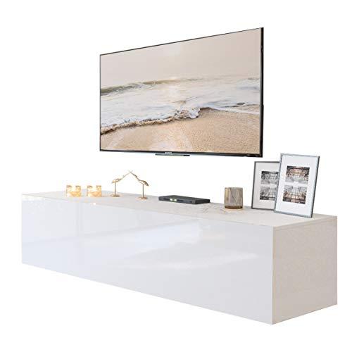 """LUK Mebel TV-Hängeschrank Colgante, B150 x H36 x T40 cm, 2 Innenfächer, Klapptür """"Push-to-Open-System"""", Wandmontage, Hochglanzoptik"""