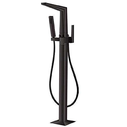 Vrijstaande badkuipkraan badbadkuip-waterkraan met handdoucheset vloergemonteerd chroom zwart