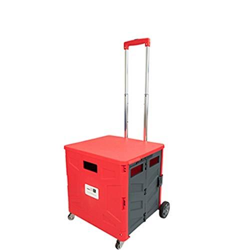 Caja plegable de 80 kg / 176 libras con tapa, Mango de acero telescópico, Carrito rodante de utilidad en 4 ruedas, Caja de herramientas portátil con ruedas con ruedas, Tienda de comestibles ligera par