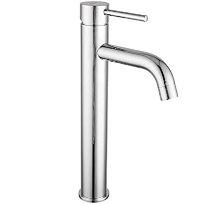 Bathrooms Vessel Sink Faucet FRUD Single-Handle One Hole Tall Body Lavatory Faucet Commercial Farmhouse Brushed Nickel Vanity Faucets with Water Supply Lines (Chrome)