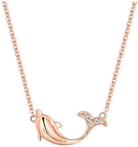 DUEJJH Co.,ltd Halskette Mode versilbert niedlichen Delphin Statement Halskette Zirkonia Wal Anhänger Halsketten Roségold