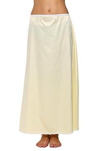 Avidlove Damen Lang Rock Spitzen Unterrock Halbrock Unterkleid Petticoat Einfarbig Weiß Miederröcke Halbslip M Maxi Beige