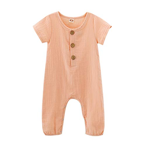 Toddler Baby Boys Girls Solid Jumpsuit Summer Short Sleeve Romper Cotton One-Piece Coverall Outfit Clothes Pink 6-12 Months