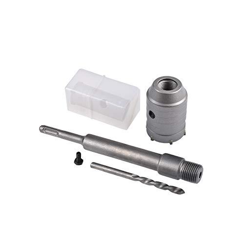HOHXEN 60mm SDS Scie Trépan + 200mm Bielle + Foret hélicoïdal + Vis de positionnement,pour Murs en Béton Armé Briques Ouvertures de Climatisation