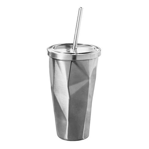 YANVHA Taza de acero inoxidable con pajita y tapa térmica con doble pared irregular para café, bebidas y agua, 500 ml (color acero)