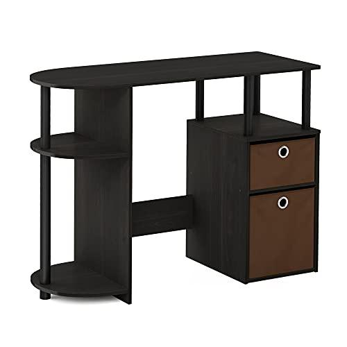 FURINNO Jaya Computer Study Desk with Bin, Brown Only $41.76 (Retail $95.99)