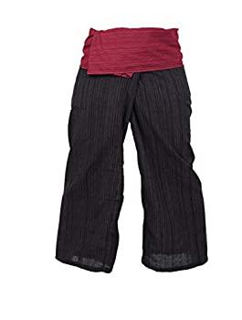 LannaPremium Thai Fisherman Yoga Pants Trousers Cotton One Size 2 Tone Red Black