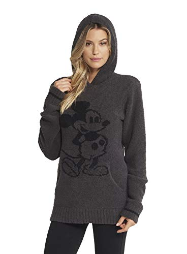 Barefoot Dreams CozyChic Classic Disney Mickey Mouse Adult Hoodie, Hooded Sweatshirt for Men and Women-Cream/Carbon