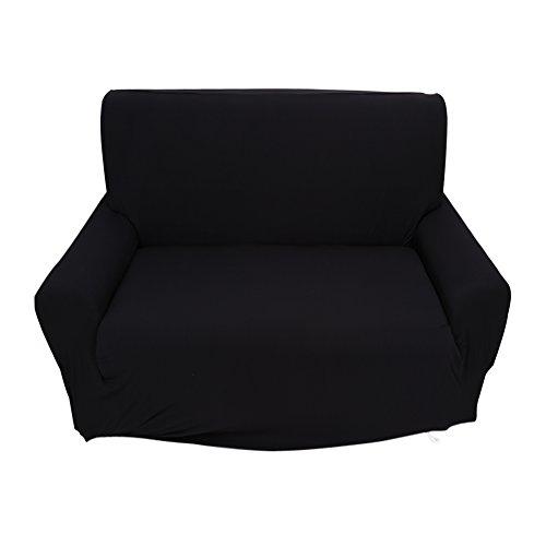 Fundas de sofá de 2 plazas 7 Colores sólidos Funda de Estiramiento Completo Tejido elástico Soft Couch Cover Sofa Protector Muebles de casa (Color : Negro)
