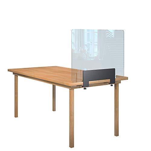 Rulopak Glastrennwand Plexiglas klar mit Tisch Klemme Metall, Trenner, Trennwand, Spuckschutz, Glas (B 80 cm x H 60,8 cm)