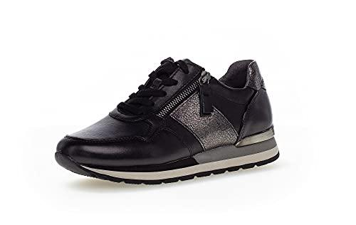 Gabor Damen Low-Top Sneaker, Frauen Halbschuhe,Wechselfußbett,Moderate Mehrweite (G),Strassenschuhe,Laufschuhe,schwarz Kombi (Y),39 EU / 6 UK