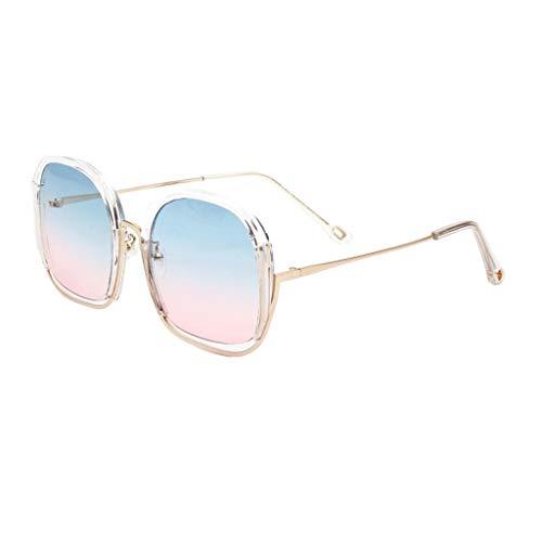 Amuzocity Gafas de Sol Grandes de Metal, Ojo de Gato Moderno Polarizado Y - Azul Claro